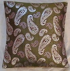 "1 light green paisley brocade handmade bed pillow case cushion cover 18"" HD EHS #Handmade"