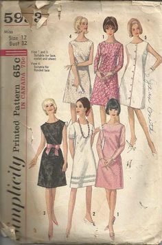 1960s A-Line One Piece Dress Sleeve Variations Jewel by kinseysue