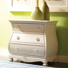 Have to have it. Placid Cove Bombe 3 Drawer Nightstand - Honeysuckle White - $603 @hayneedle