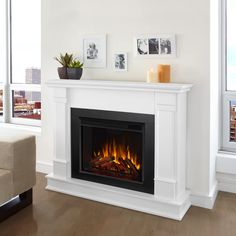 Gel Fireplace, White Fireplace, Fireplace Inserts, Living Room With Fireplace, Fireplace Mantels, Fireplace Ideas, Living Rooms, Fireplace Screens, Fireplace Design