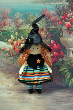 SALE!! Textile handmade doll witch