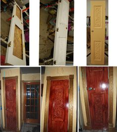 Redo of kitchen pantry door. Old hollow core door, cut, installed plaster panel, painted and stained to look like old carved mahogany door. Door Redo, Diy Door, Kitchen Pantry Doors, Old Doors, Barn Doors, Hollow Core Doors, Mini Farm, Home Repairs, Architectural Elements