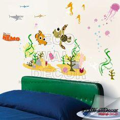 PEEL and STICK Kids Nursery Removable Vinyl Wall Sticker Mural Decal Art - Finding Nemo Underwater World. $20.00, via Etsy.