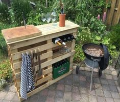 DIY BBQ side table with pallets - pallet recycling / upcycle ideas, DIY plans. … - UPCYCLING IDEAS - DIY BBQ side table with pallets – pallet recycling / upcycle ideas, DIY plans. Pallet Furniture Designs, Pallet Garden Furniture, Diy Furniture, Outdoor Furniture, Antique Furniture, Rustic Furniture, Furniture Chairs, Furniture Stores, Playhouse Furniture