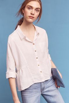 Slide View: 1: Washed Linen Shirt XXS white