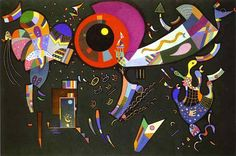 'Autour de Le Cercle', huile de Wassily Kandinsky (1866-1944, Russia)