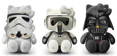 Star Wars Hello Kitty model toys. This is the perfect marriage of my husband's Star Wars obsession and my adoration of Hello Kitty.