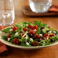 Mediterranean Salad... Flavored tomatoes and balsamic vinegar dress a green salad recipe that is ready in only 10 minutes