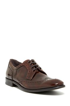 Star Hal Wingtip Derby in dark brown by John Varvatos USA $278 - $160 @HauteLook. - Almond toe with intricate broguing - Sleek construction with broguing - Lace-up - Leather upper, manmade sole