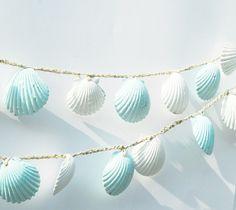 Seashell Garland, Beach Wedding Decorations, Blue and White Sea Shell Wedding Bunting, Shabby Chic Beach Home Decor