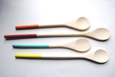 set of dipped wooden spoons