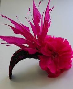 Hot Pink Feathered Fascinator for Iroquois Steeplechase in Nashville, TN