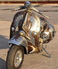 Never thought of think a Vespa was tough. Steampunk Vespa Piaggio Scooter designed and modded by Pulsar Projects. Chat Steampunk, Style Steampunk, Steampunk Design, Steampunk Fashion, Steampunk Motorcycle, Steampunk Images, Steampunk Gadgets, Vespa Motorcycle, Steampunk City