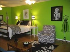 lime green & black teen-girl-room, add some owls and I could see that for my oldest