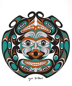 Coast Salish Two Headed Serpent Art Card- Joe Wilson
