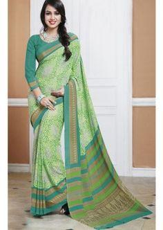 Green Silk Saree, -  £80.00,  #Sareesonlineuk  #Saridressonline  #Eidclothesuk  #Dresssareewedding  #Shopkund