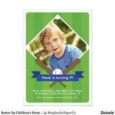 Batter Up Children's Party Invitation - Royal Blue