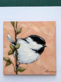 A personal favorite from my Etsy shop https://www.etsy.com/listing/267605792/chickadee-painting-original