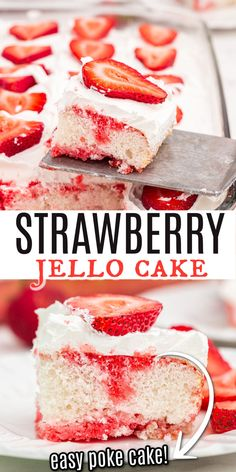 A light and refreshing Strawberry JELL-O Poke cake. Sweet white cake is topped with strawberry gelatin , Cool whip and fresh strawberries for a delicious treat! Cake Mix Recipes, Best Dessert Recipes, Sweets Recipes, Fruit Recipes, Cupcake Recipes, Baking Recipes, Delicious Desserts, Cupcake Cakes, Cupcakes