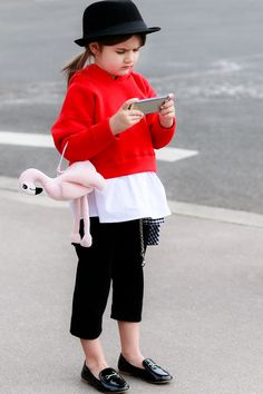 Paris Fashion Week Kids Casual Dandy Look Street Style Outfit by Miss Kaira feat. Pink Flamingo Bag   EdgyCuts