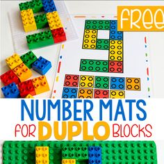 Free printable Number Mats for Duplo blocks. Count numbers with these DUPLO Number Mats for preschool and kindergarten. Your kids will love these fun lego number mats! Lego Activities, Counting Activities, Hands On Activities, Numbers Preschool, Preschool Math, Number Games Kindergarten, Prek Literacy, Kindergarten Prep, Free Printable Numbers