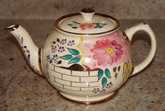 Antique Sadler Teapot w/ Flowers & Gold Gilt Earthenware Marked Very Good Cond. in Pottery & Glass, Pottery & China, China & Dinnerware | eBay