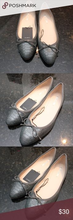 Zara Snake Flats Snake embossed, little bow, gray tone. Zara size 40= us women's 9 Zara Shoes Flats & Loafers