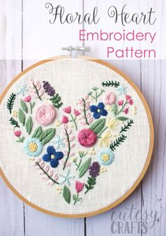 Learn hand embroidery stitches with this beautiful free floral heart embroidery pattern