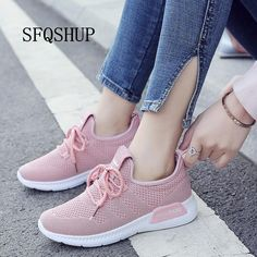 New Arrival Breathable Flat Shoes Woman Summer Ladies Casual Shoes Lightweight Pink Soft Sneakers Women Zapatos Mujer - Schuhe - Cute Shoes, Women's Shoes, Me Too Shoes, Shoe Boots, Shoes Sneakers, Flat Shoes, Sneakers Women, Womens Casual Sneakers, Red Adidas Shoes