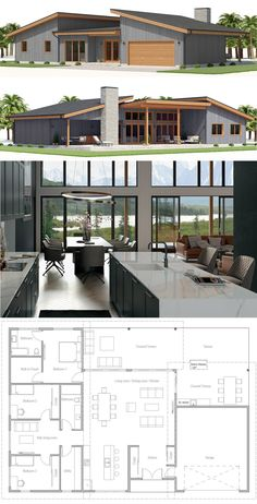 House Designs, Home Plans, Floor Plans, Architecture Beach House Plans, New House Plans, Dream House Plans, Small House Plans, Modern House Facades, Modern Architecture House, Architecture Design, Modern Floor Plans