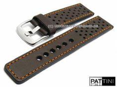 1e9ca568aacbb Watch strap dark brown smooth rustic leather racing style orange stitching  by PATTINI (width of buckle 22 mm) - Bild vergrößern
