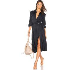 FRAME Denim Soft Safari Dress (535 CAD) ❤ liked on Polyvore featuring dresses, rayon dress, utility dress, shirt dresses, waist belts and midi day dresses