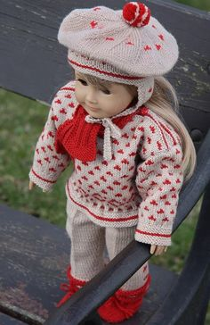 Knit doll dress with this lovely doll knitting pattern