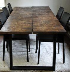 Leveät lankut, joissa antiikkiruskea käsittely Dining Table, Rustic, Modern, Furniture, Home Decor, Homemade Home Decor, Diner Table, Dinning Table Set, Retro