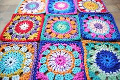 Crochet circles in squares worked in Sirdars Cotton DK