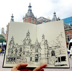 Stadsschouwburg Amsterdam / Stanislavsky Cafe Leidseplein #sketch #sketching #sketchbook #sketchwalker #urbansketchers #TravelSketch #TravelSketcher #Amsterdam #leidseplein