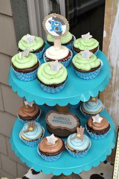 Baby shower cowboy cupcakes!