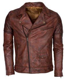 Brown Waxed Brando Designer Italian Leather Jacket at Amazon Men's Clothing store:
