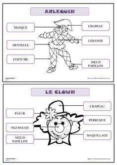 21 fiches pour la maternelle (PS, MS GS) pour d�couvrir, lire et �crire les mots du vocabulaire de carnaval (le clown et son d�guisement, Arlequin, le cowboy, la princesse, l'indien, la f�e, les costumes...)