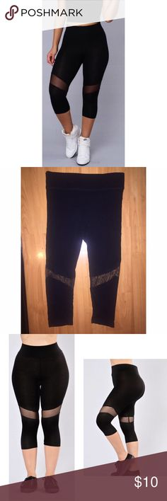 Cropped leggings with mesh inserts. Size small Super cute leggings. New without tags. Unfortunately I bought the wrong size. Very fashionable for a casual day out or in the gym. Sporty and sexy! Pants Leggings