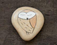 Owl painted beach stone Israel holy land sea rocks art meditation stones Mediterranean painted pebbles