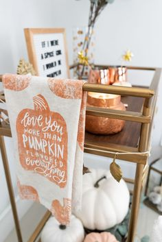 Fall Bar Cart Mixed Metal Home Decor - The Cute Fall Bar Cart Anthropologie Decor - The Fancy Things- Happy Fall, ya'll! I'm soo excited to finally share the fall bar cart reveal with you! I've been working on our bar cart for the past couple weeks Fall Home Decor, Autumn Home, Fall Apartment Decor, Fall Bedroom Decor, Seasonal Decor, Holiday Decor, Holiday Ideas, Bar Cart Decor, Diy Inspiration