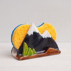 Ceramic Sponge Holder for kitchen Mountain Sponge Holder Napkin Holder Valentines day gift Mountains lovers Pottery sponge holder (15.00 EUR) by NCeramics