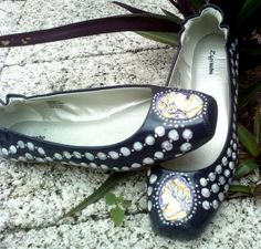 Wedding Shoes Cameos and Pearls painted colored  by norakaren, $225.00