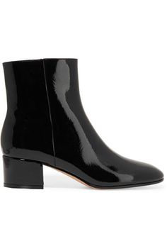 Gianvito Rossi's glossy patent-leather ankle boots are endlessly versatile - we love them with cropped wide-leg jeans and printed dresses. They've been made in Italy and designed with a timeless round-toe silhouette and a low block heel.