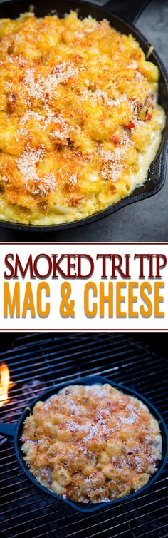 The creamiest and most indulgent Smoked Tri Tip Macaroni and Cheese. This amazing Mac and cheese can be cooked on the grill or smoker!!! Get the full recipe and video!