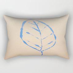 blue leaf Rectangular Pillow by afrorubini Lumbar Pillow, Bed Pillows, Blue Leaves, Poplin Fabric, Home Deco, Accent Decor, Zipper, Contemporary, Medium