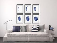 Moon Phases Art Moon Wall Decor Watercolor Painting Modern