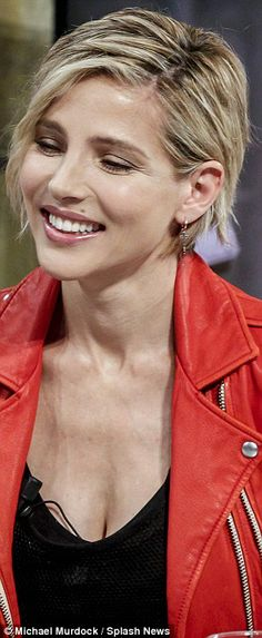 Glowing: Elsa had her usual blonde bob kept sleek and straight and sported some lashings o...