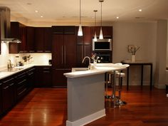 Brazilian Cherry Hardwood Floors Ideas   Pretty Dark Stained Cabinets